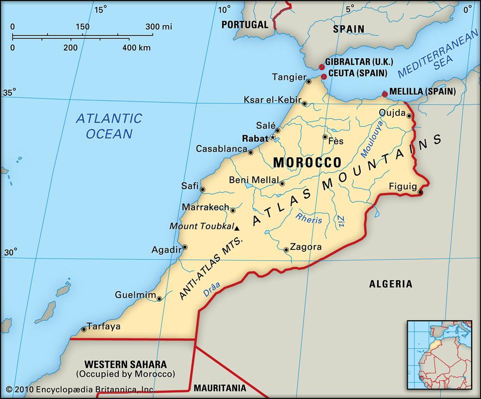 Relative Location Morocco